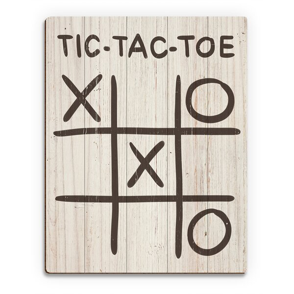 Wood Slats Tic-Tac-Toe Autumn Painting Print on Plaque by Click Wall Art