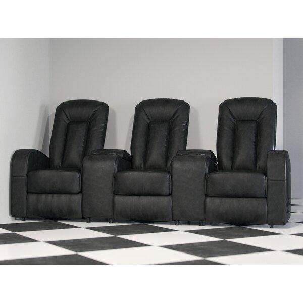 Leather Home Theater Group Seating Row of 3 by Winston Porter