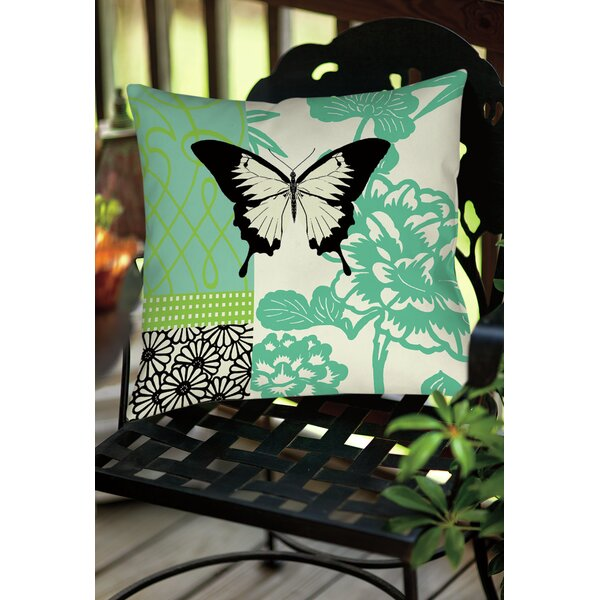 Butterfly Journey 1 Indoor/Outdoor Throw Pillow by Manual Woodworkers & Weavers