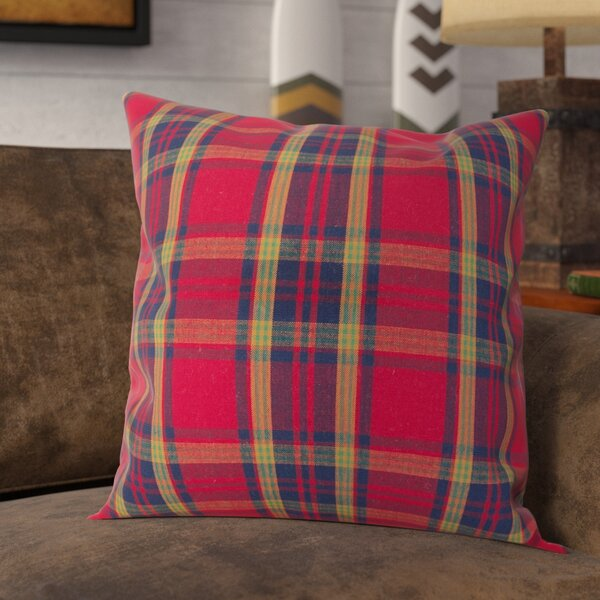 Alvaro Classic Tartan Plaid Print Holiday Cotton Throw Pillow by Loon Peak