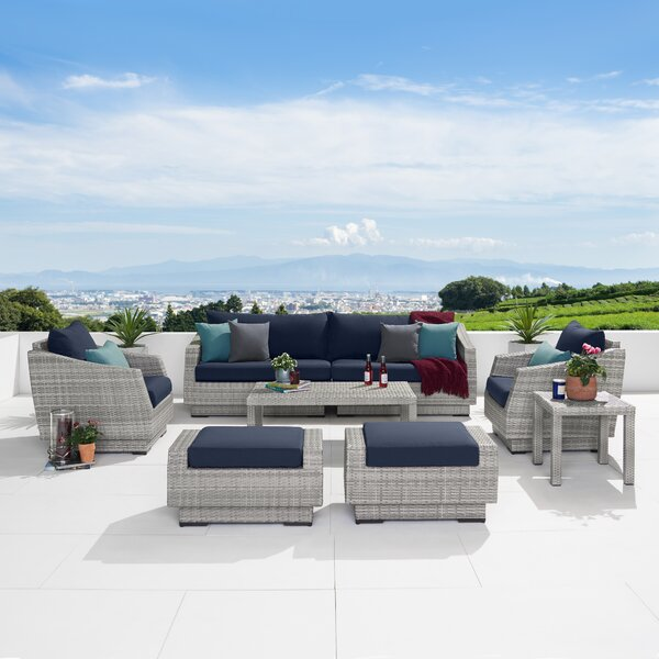 Castelli 8 Pieces Rattan Sofa Seating Group with Cushions by Wade Logan