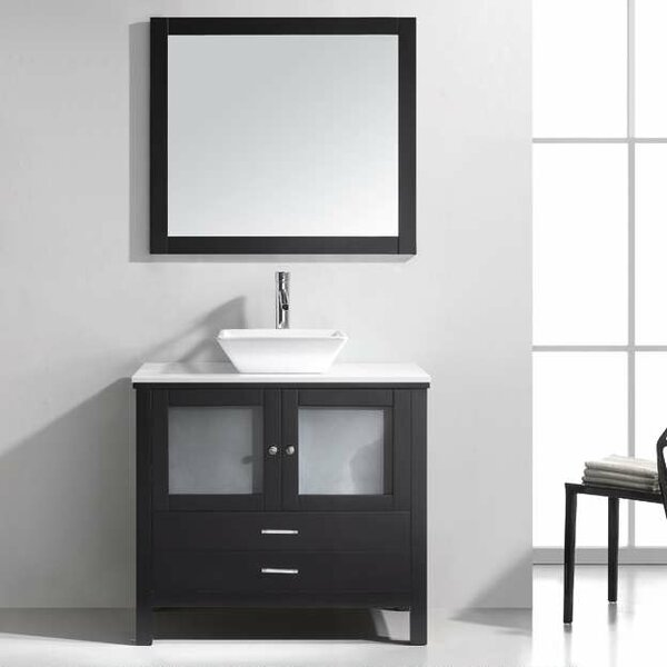 Millan 36 Single Bathroom Vanity Set with White Stone Top and Mirror by Latitude Run