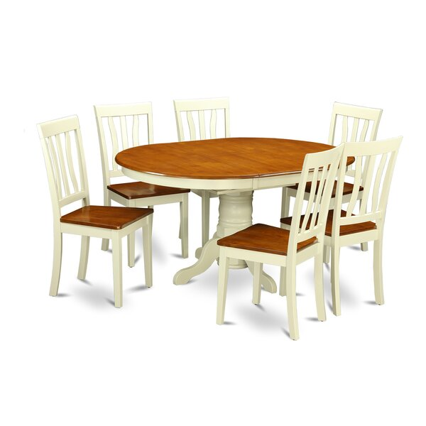 Aimee 7 Piece Extendable Solid Wood Dining Set by August Grove