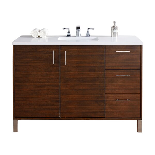 Cordie Modern 48 Single American Walnut Hardwood Base Bathroom Vanity Set by Orren Ellis