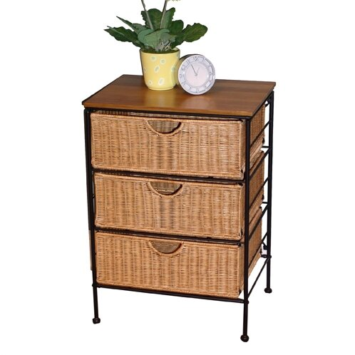 Wicker 3 Drawer Accent Cabinet