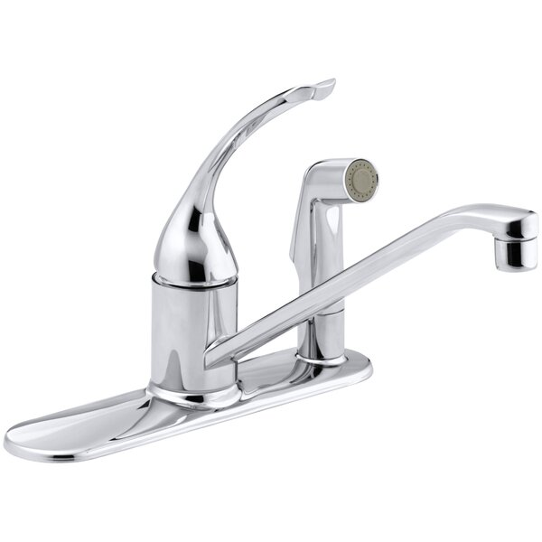 Coralais Three-Hole Kitchen Sink Faucet with 10 Spout, Matching Finish Sidespray Through Escutcheon and Loop Handle by Kohler
