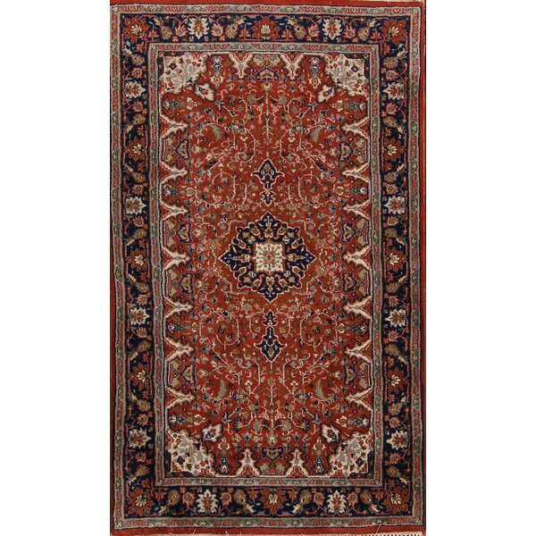 Rolando Tabriz Oriental Hand-Knotted Wool Orange/Black Area Rug by Bloomsbury Market