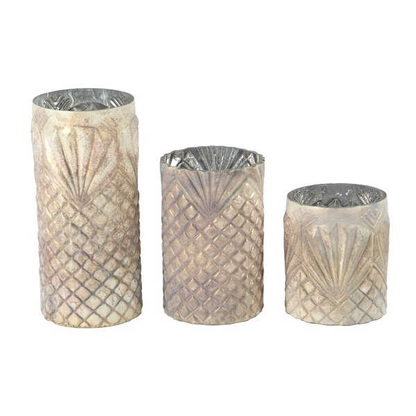 Coastal Cylindrical 3 Piece Glass Votive Set by Bay Isle Home