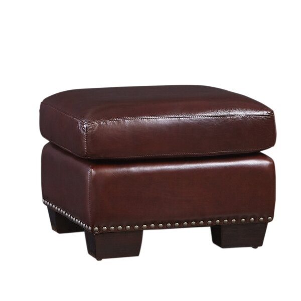 Milligan Leather Ottoman by Canora Grey