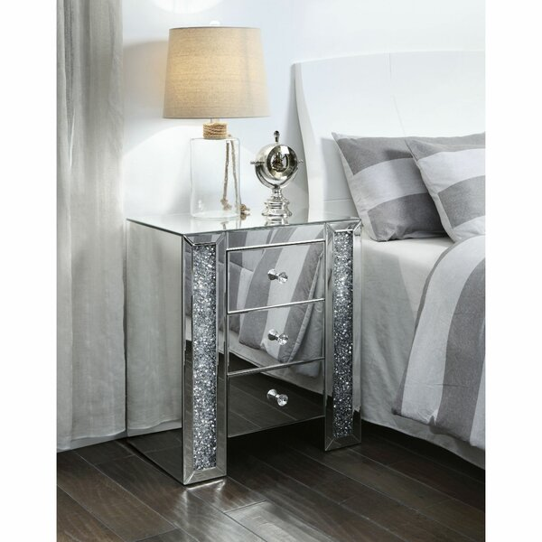 Albertville Wood and Mirror 3 Drawer Nightstand by Everly Quinn