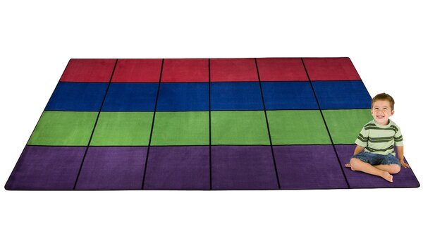 Blocks Seating Tufted Blue/Red/Green Rug