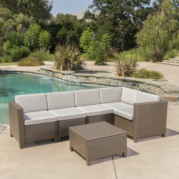 Furst 6 Piece Rattan Sectional Seating Group with Cushions by Wade Logan