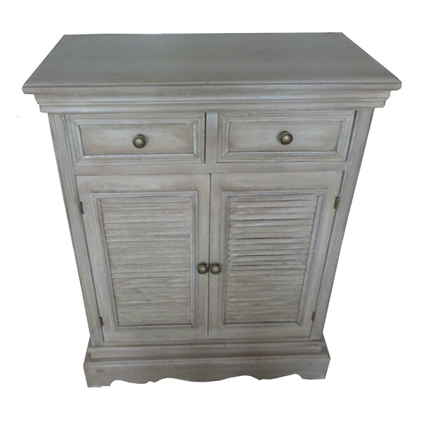 Berrier Wood Louvered 2 Drawer Accent Cabinet