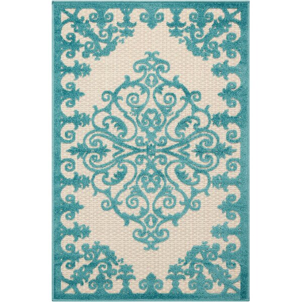 Farley Blue/Cream Indoor/Outdoor Area Rug by Beachcrest Home
