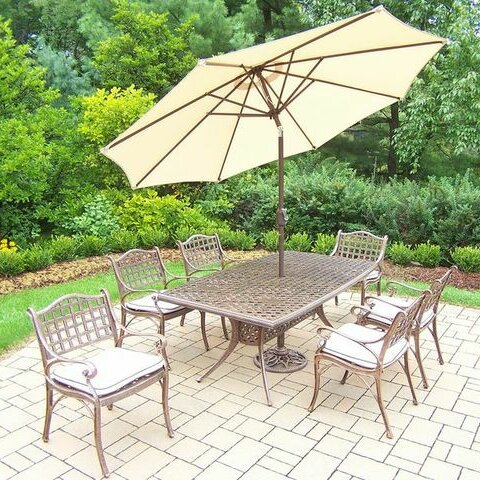 Thelma 7 Piece Dining Set with Cushions by Astoria Grand