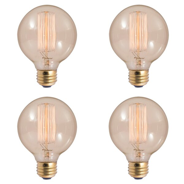40W E26 Dimmable Incandescent Globe Light Bulb Antique (Set of 4) by Bulbrite Industries