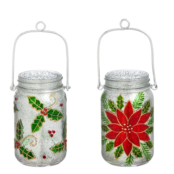 2 Piece Festive Glass Mason Jar Set by The Holiday Aisle