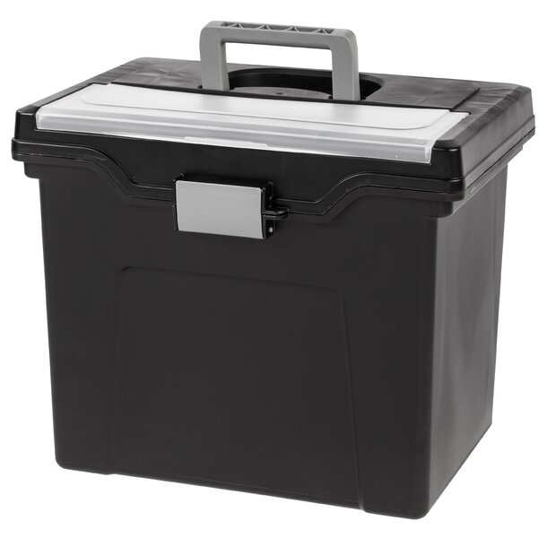 Portable Letter Size File Box with Organizer Lid (Set of 4) by IRIS USA, Inc.