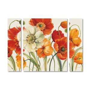 'Poppies Melody I' by Lisa Audit 3 Piece Painting Print on Wrapped Canvas Set by Trademark Fine Art