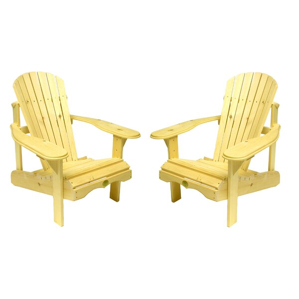 The Bear Solid Wood Adirondack Chair (Set of 2) by W Home W Home