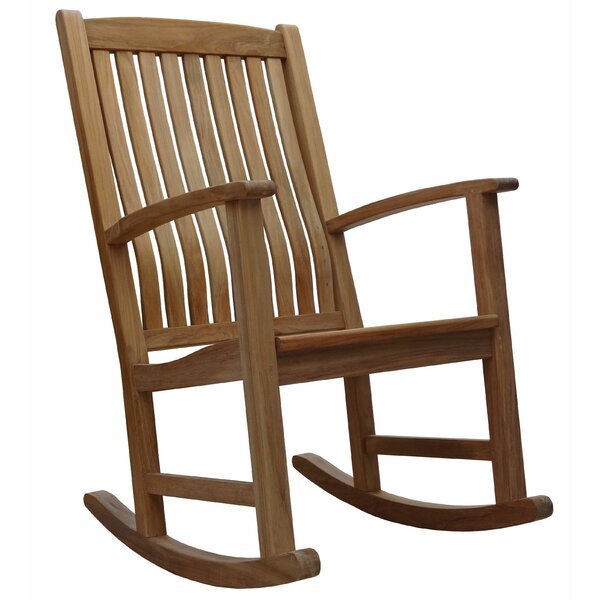 Ouellette Teak Rocking Chair By Rosecliff Heights