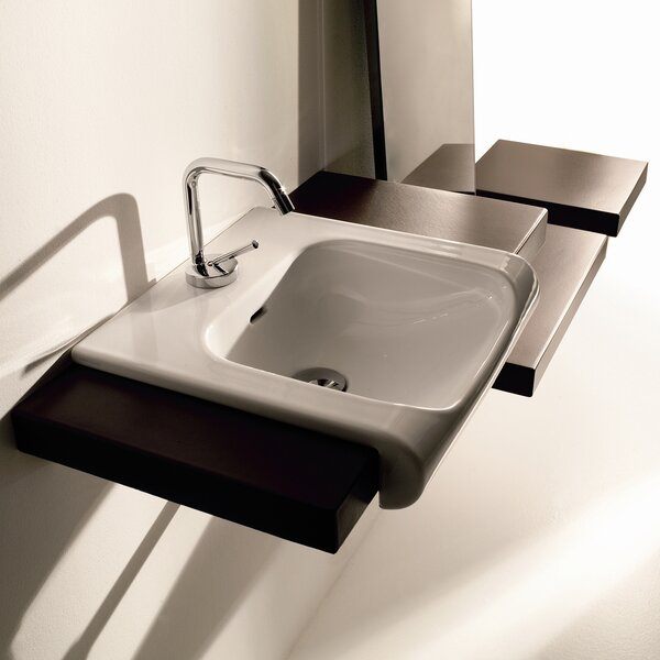 Inka Ceramic 16 Wall Mount Bathroom Sink with Overflow by WS Bath Collections