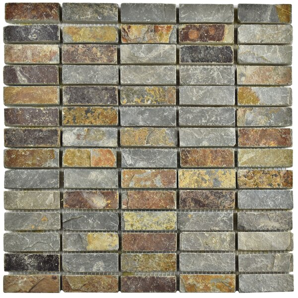 Peak Linear 0.75 x 2.25 Slate Mosaic Tile in Sunset by EliteTile