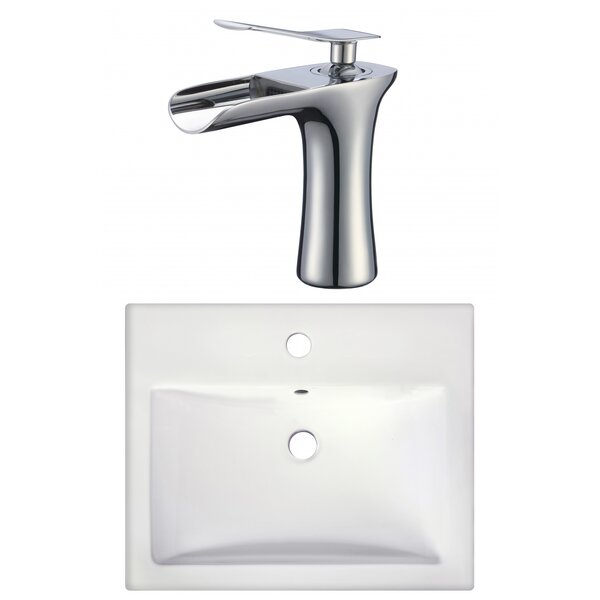 1 Hole Ceramic Rectangular Drop-In Bathroom Sink with Faucet by American Imaginations