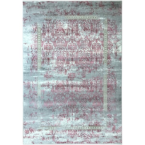 Wintergreen Silky Rose Sultan Red/Silver Area Rug by Bloomsbury Market