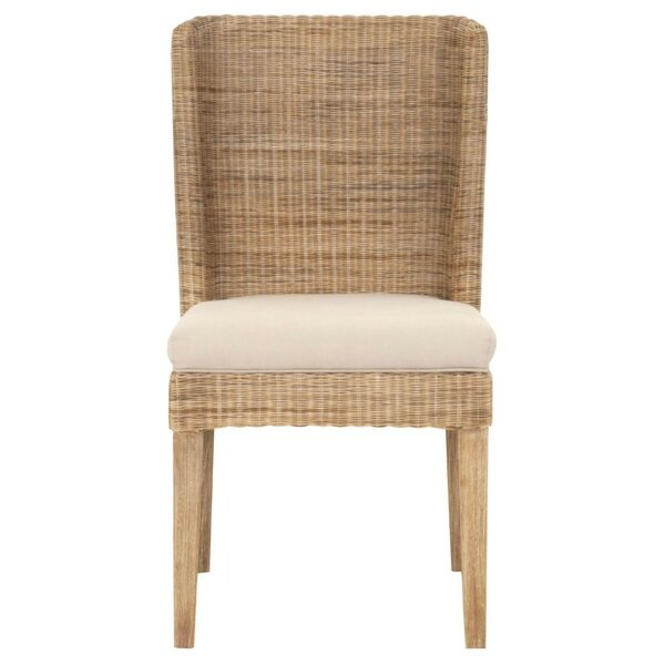 Haines Wicker Solid Wood Dining Chair (Set of 2) by Bayou Breeze