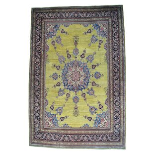 One-of-a-Kind Harbuck Persian Mansion Size Khorasan Oriental Hand-Knotted Yellow Area Rug