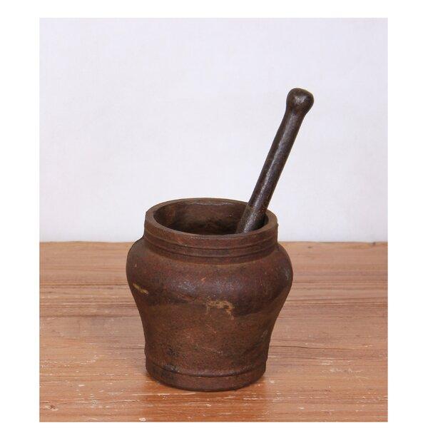 Vintage Iron Mortar and Pestle Set by Sarreid Ltd