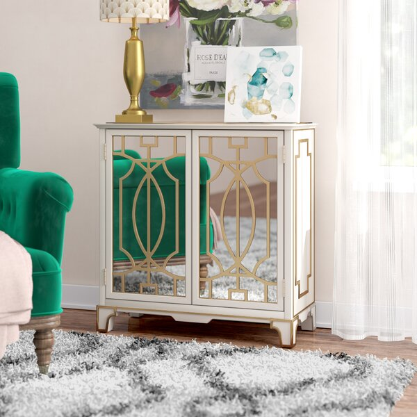 Carlene Traditional Mirrored 2 Doors Accent Cabinet by House of Hampton