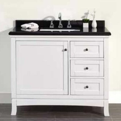 Sophia 42 Single Granite Top and Rectangular Basin Vanity Set by Ove Decors