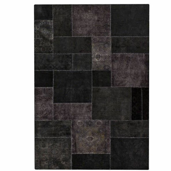 Renaissance Hand-Knotted Black Area Rug by Hokku Designs