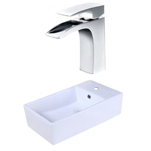 Find Ceramic Rectangular Vessel Bathroom Sink with Faucet and Overflow By American Imaginations