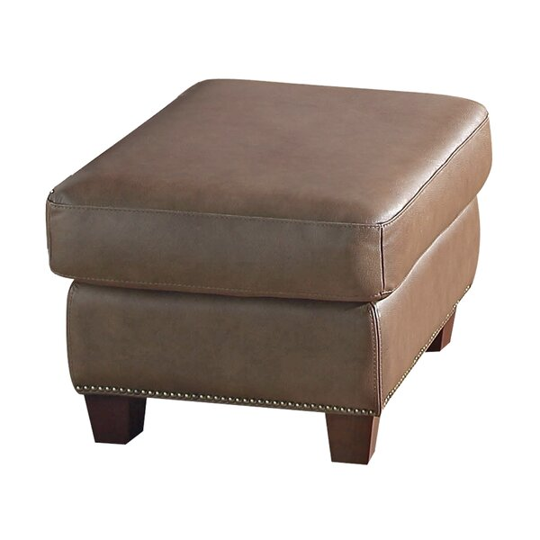 Davon Leather Ottoman by 17 Stories