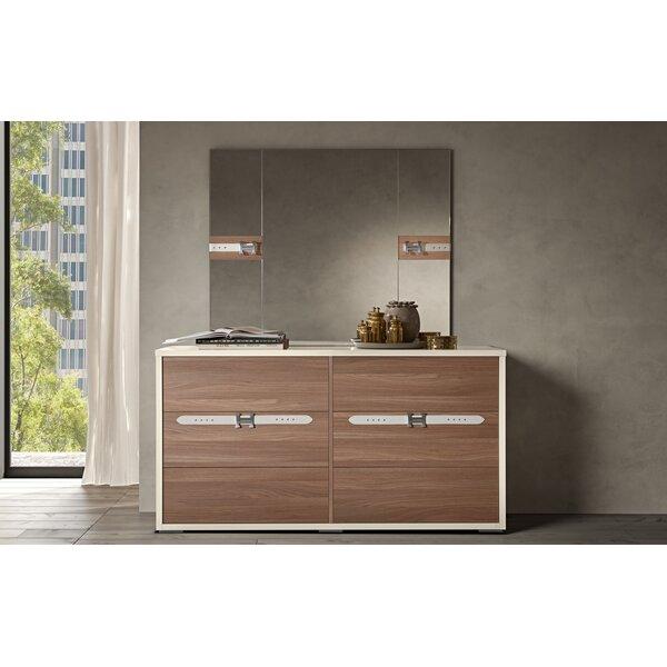 Winfrey Modern Style 6 Drawer Double Dresser with Mirror by Brayden Studio
