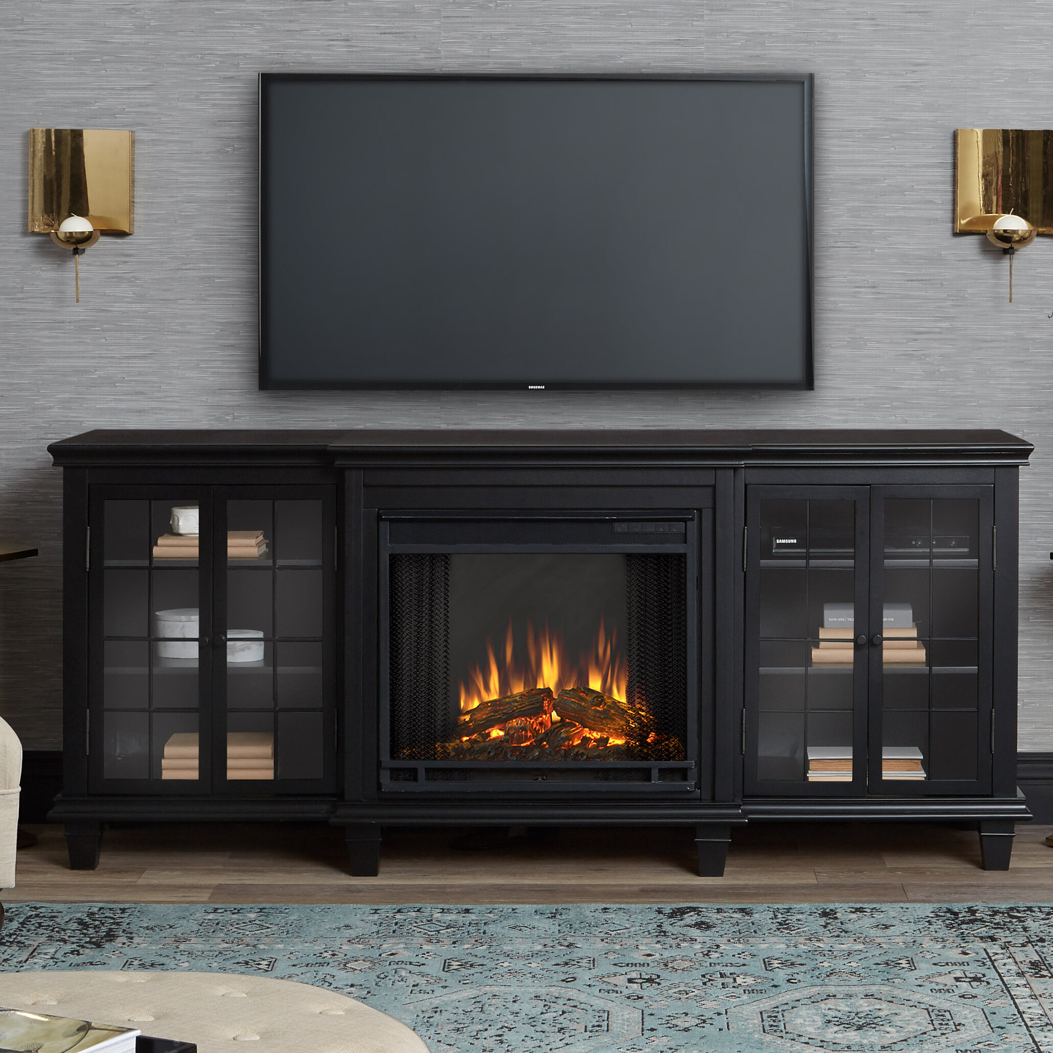 tv white unique stand combined with marvelous wall stan electrick electric rock fireplace brown painted furniture tc corner plus