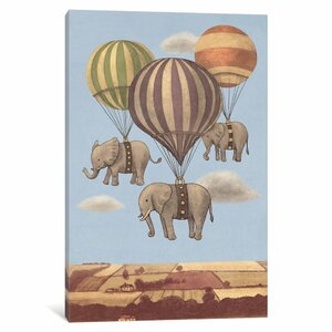 'Flight of the Elephants' by Terry Fan Graphic Art on Wrapped Canvas by Wrought Studio