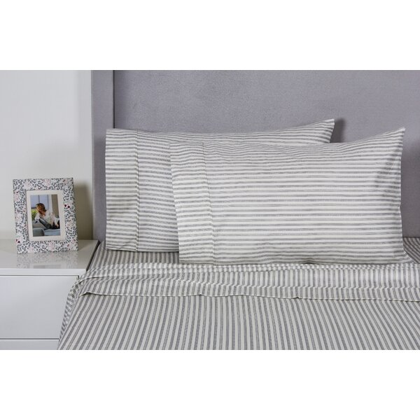 Carlton Stripe Cotton 400 Thread Count Embroidered Pillowcase (Set of 2) by Eider & Ivory
