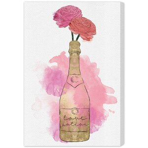 'Champagne and Flowers' Painting Print on Wrapped Canvas by Oliver Gal