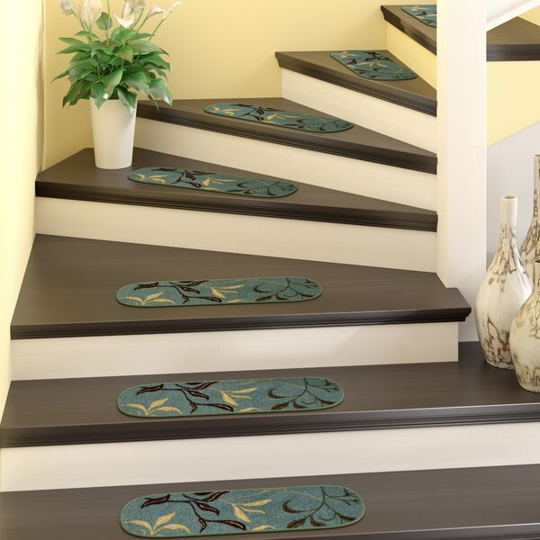 Galesburg Leaf Oval Seafoam Stair Tread (Set of 7) by Andover Mills