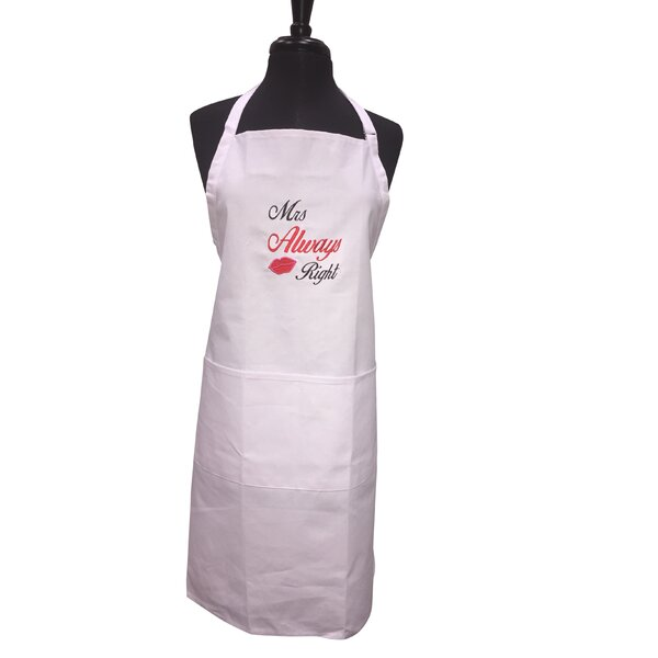 Mrs Always Right Embroided Apron by Red Barrel Studio
