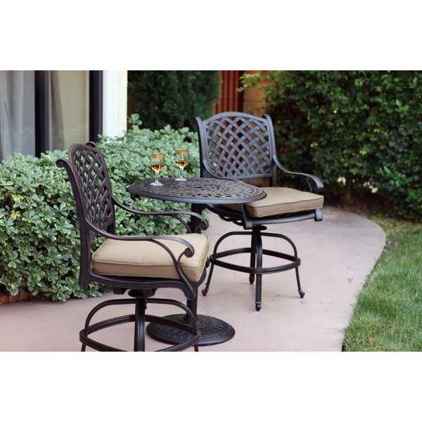 Lincolnville 3 Piece Bar Height Dining Set with Cushions by Fleur De Lis Living