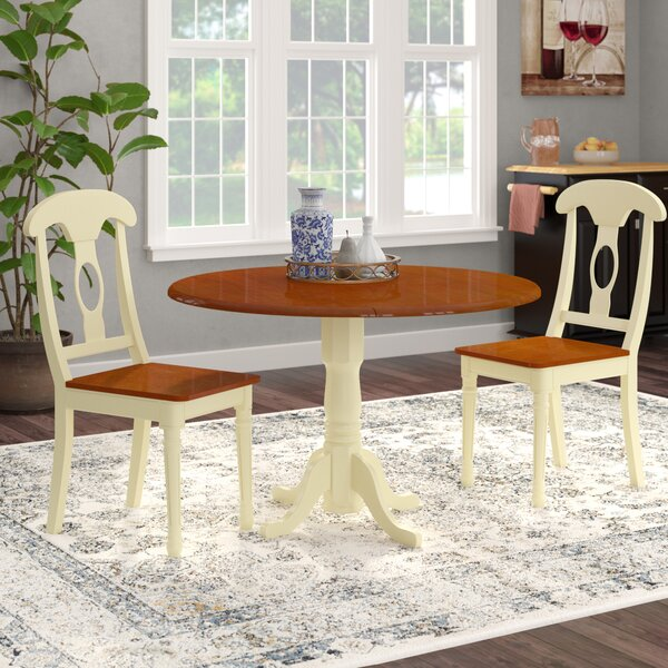 Spruill 3 Piece Drop Leaf Solid Wood Dining Set by August Grove