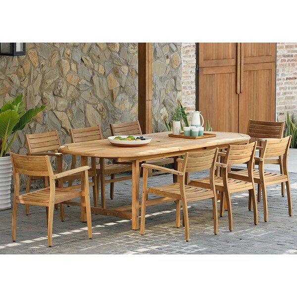 Amos Extendable 9 Piece Teak Dining Set by Longshore Tides