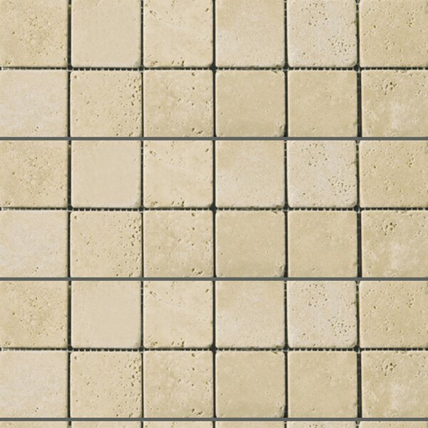 Travertine 2 x 2/12 x 12 Mosaic Tile in Ancient Tumbled Beige by Emser Tile