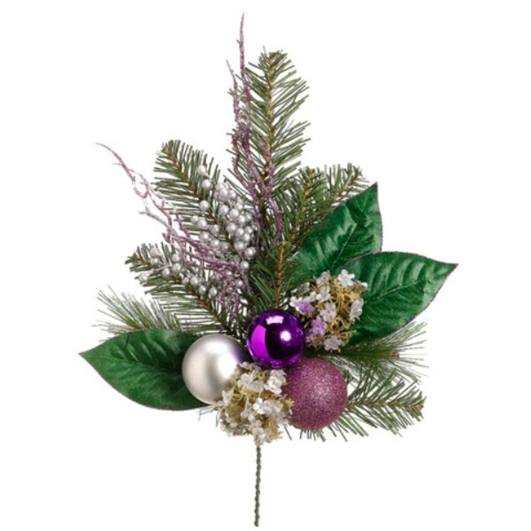 Artificial Hydrangea and Berry with Balls Christmas Spray by Tori Home