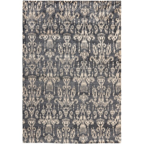Heloise Hand-Knotted Coal Area Rug by Bloomsbury Market